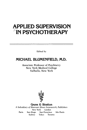 Applied Supervision in Psychotherapy PDF