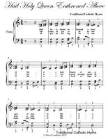 Hail Holy Queen Enthroned Above Elementary Piano Sheet Music PDF