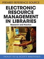 Electronic Resource Management in Libraries  Research and Practice PDF