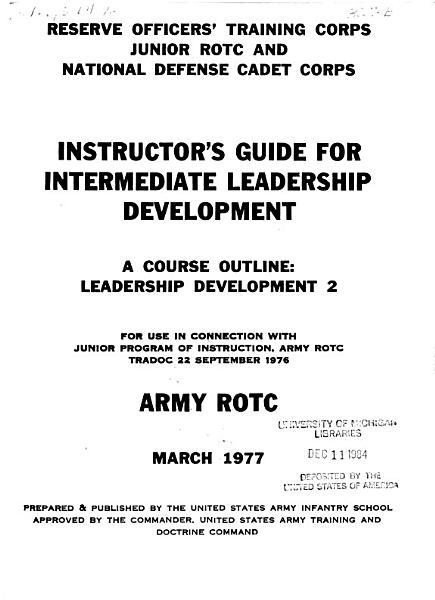 Instructor's Guide for Introduction to Leadership Development