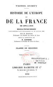 Histoire de l'Europe et de la France de 1270 à 1610: classe de seconde