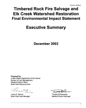Timbered Rock Fire Salvage and Elk Creek Watershed Restoration   Environmental Impact Statement