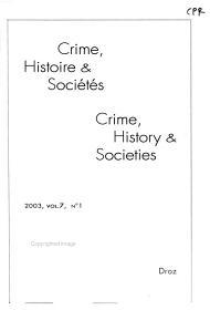 Crime  Histoire   Soci  t  s PDF