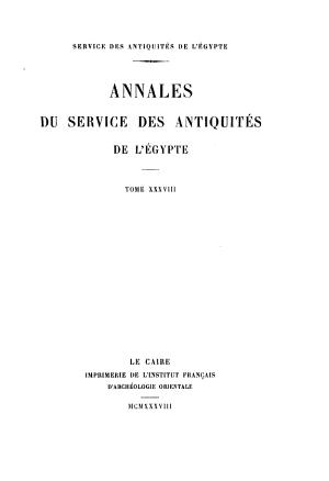 Annales Du Service Des Antiquit  s de L Egypte PDF
