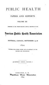 Public Health Papers and Reports: Volume 20