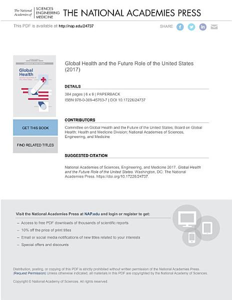 Download Global Health and the Future Role of the United States Book