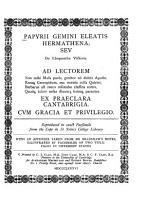 Papyrii Gemini Eleatis Hermathena Ser de Eloquentiae Victoria PDF