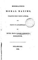 Miscellaneous moral maxims  collected from various authors by muha raja Kalee Krishun PDF