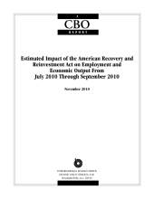 Estimated Impact of the American Recovery and Reinvestment Act on Employment and Economic Output From July 2010 Through September 2010