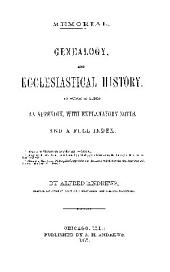MEMORIAL GENEALOGY, AND ECCLESIASTICAL HISTORY