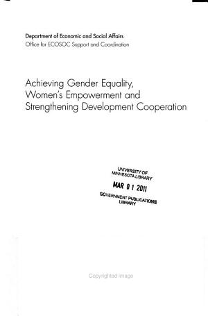 Achieving Gender Equality  Women s Empowerment and Strengthening Development Cooperation