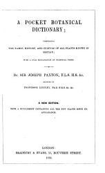 A Pocket Botanical Dictionary Book PDF