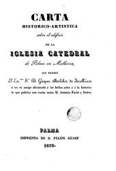 Carta histórico-artística sobre el edificio de la catedral de Palma de Mallorca