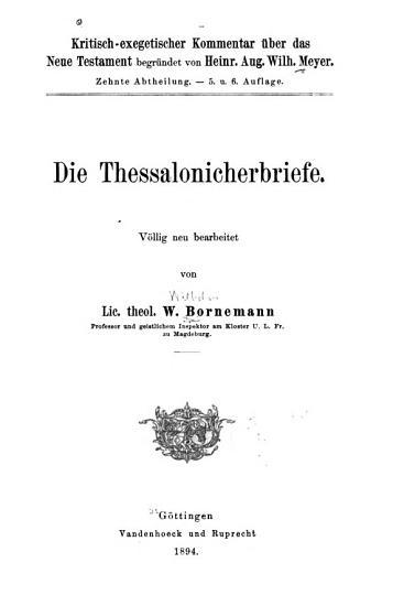 Die Thessalonicherbriefe PDF