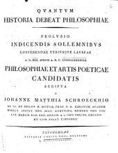 Quantum historia debeat philosophiae: Prolusio