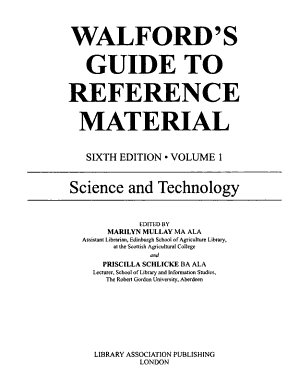 Walford s Guide to Reference Material  Science and technology