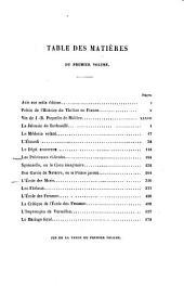 Avis sur cetle édition. Précis de l'histoire du théâtre en France. Vie de J.-B. Poquelin de Molière. La Jalousie du Barbouillé. Le médecin volant. L'étourdi. Le dépit amoureux. Les précieuses ridicules. Sganarelle, ou Le cocu imaginaire. Don Garcie de Navarre, ou Le prince jaloux. L'école des maris. Les fâcheux. L'ecole des femmes. La critique de L'école des femmes. Límpromptu de Versailles. Le mariage forcé