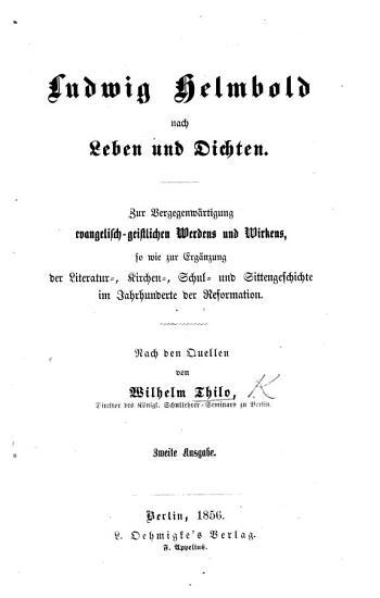 Ludwig Helmbold nach Leben und Dichten  etc PDF