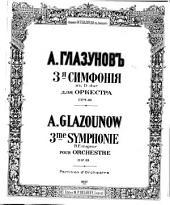 3me symphonie, Ré majeur: pour orchestre : op. 33
