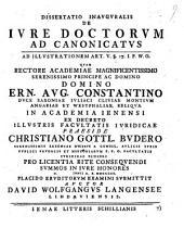 Diss. inaug. de iure doctorum ad canonicatus: ad illustrationem art. V. §. 17. I. P. W. O.