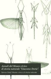 """Annali Del Museo Civico Di Storia Naturale """"Giacomo Doria"""".: Volume 33"""