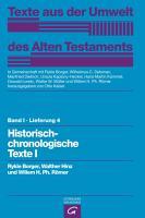 Historisch chronologische Texte I PDF