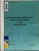 Inactive or discontinued items from the 1950 revision of the classified list  1994 PDF