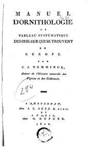 Manuel d'ornithologie ou tableau systématique des oiseaux qui se trouvent en Europe