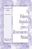 A Palavra Sagrada para o Reavivamento Matinal   Estudo Cristaliza    o de Lev  tico  Volume 3 PDF