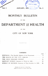 Monthly Bulletin of the Department of Health in the City of New York: Volume 1