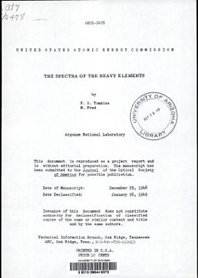 The Spectra of the Heavy Elements PDF
