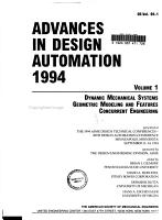 Advances in Design Automation  1994  Dynamic mechanical systems  Geometric modeling and features  Concurrent engineering PDF