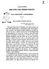 Analisi chimica della nuova acqua minerale purgativa di San Vincenzo a Pontedera eseguita dal prof. Antonio Targioni Tozzetti