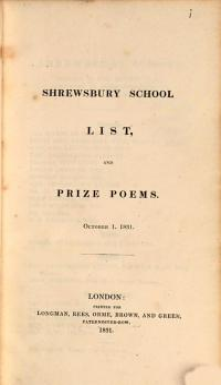 The Prize Exercises of Shrewsbury School