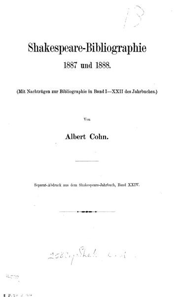 Download Shakespeare Bibliographie  1887 und 1888  1892 und 1893  1894  1895 und 1896 Book