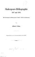 Shakespeare Bibliographie  1887 und 1888  1892 und 1893  1894  1895 und 1896 PDF