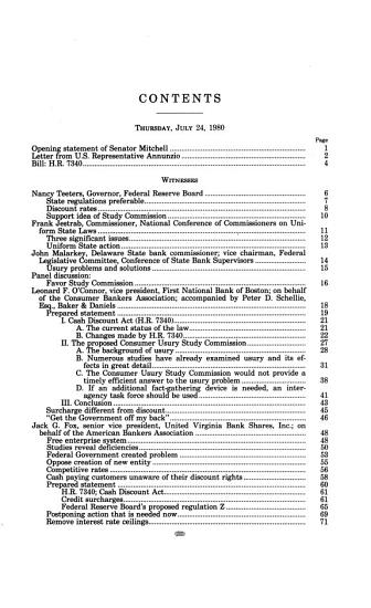 Cash Discount Act and National Consumer Usury Commission PDF