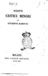 Scritti critici minori di Giuseppe Baretti