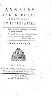 Annales religieuses, politiques, et littéraires: Volume1
