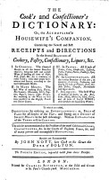 The Cook s and Confectioner s Dictionary  Or  The Accomplish d Housewife s Companion     The Fourth Edition  Etc PDF