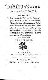 Dictionnaire dramatique: Volume1
