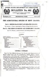 The Agricultural Species of Bent Grasses: Part I. -- Rhode Island Bent and Related Grasses