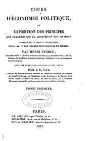 Cours d'économie politique; ou, Exposition des principes qui déterminent la prospérité des nations: Volume1