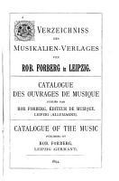 Verzeichniss des Musikalien Verlages von Rob  Forberg in Leipzig PDF