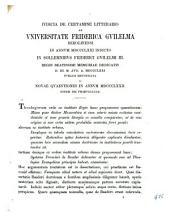 Iudicia de certamine litterario ab Universitate Friderica Guilelma Berolinensi: in annum ... indicto in sollemnibus Friderici Guilelmi III. regis beatissimi memoriae dedicatis ... publice renuntiata ac novae quaestiones. 1871 (1872)