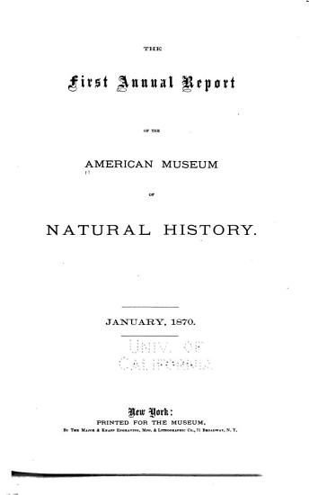 Annual Report of the American Museum of Natural History for the Year PDF