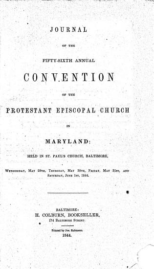 Journal of the Proceedings of the     Annual Convention of the Protestant Episcopal Church of the Diocese of Maryland PDF