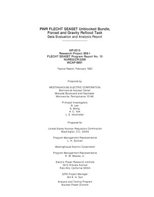PWR FLECHT SEASET Unblocked Bundle  Forced and Gravity Reflood Task Data Evaluation and Analysis Report