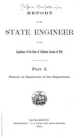 Report of the State Engineer to the Legislature of the State of California, Session of ...