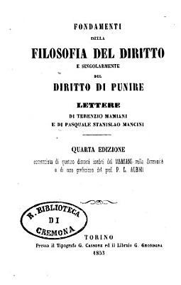 Fondamenti della filosofia del diritto e singolarmente del diritto di punire PDF